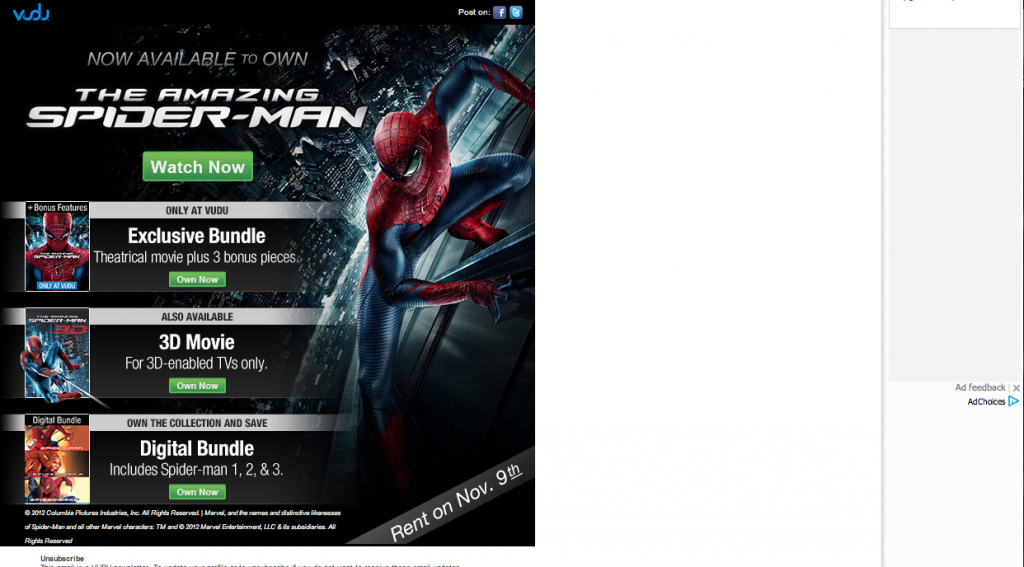 Screen Shot 2012 11 01 at 3.26.14 PM 1024x567 The Amazing Spider Man/ Vudu Party!! #SpiderManWMT #Cbias