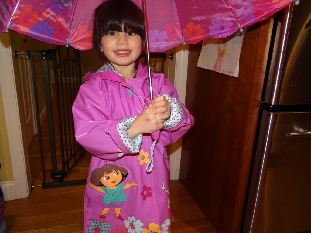 DSC09104 1024x768 Kidorable Dora the Explorer Rain Coat, Boots, and Umbrella!