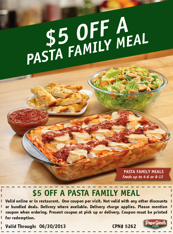 PG Pasta Family Meal Coupon Papa Ginos Family Pasta Meals are Delicious!