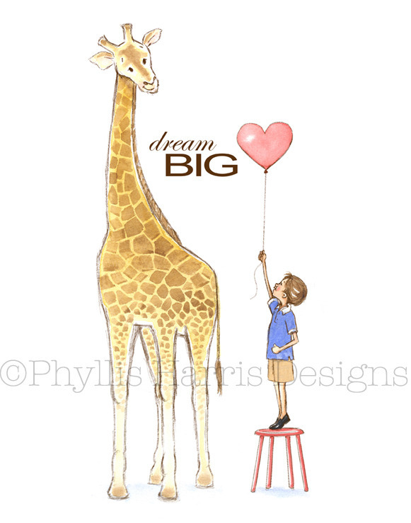 boy giraffe copy Phyllis Harris Child Wall Art Review and Giveaway!