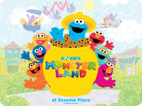 "Sesame Place will open its furriest land ever in Spring 2014 – Cookie's Monster Land™! Cookie Monster will serve as host to all of his monster friends in this colorful and imaginative new land featuring five exciting rides, a three-story net climb, and a soft play area for the park's youngest visitors. Everyone's favorite Sesame Street monsters will come together in a fun-filled land with attractions and play areas that families can enjoy together throughout the year, including Captain Cookie's High ""C's"" Adventure, Oscar's Rotten Rusty Rockets, The Honker Dinger Derby, Flying Cookie Jars and the Monster Mix-Up. The updated""1-2-3 Smile with Me!"" interactive photo location also gives everyone the chance to share a furry hug and a smile with Cookie Monster and his monster friends."