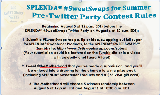Screen Shot 2014 08 01 at 9.45.14 AM Join the SPLENDA® #SweetSwaps Twitter Party 8/6 Noon  1 pm EST