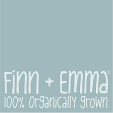 logo Finn + Emma 100 percent organically grown baby clothes!