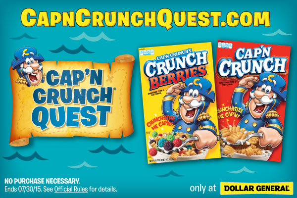 CapCrunch.com   Be Sure to Buy Cap'N Crunch at Dollar General + Enter To Win A $100 Dollar General Gift Card! #CapnCrunchQuest