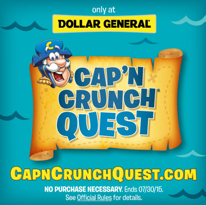 CapnCrunch ad  Be Sure to Buy Cap'N Crunch at Dollar General + Enter To Win A $100 Dollar General Gift Card! #CapnCrunchQuest