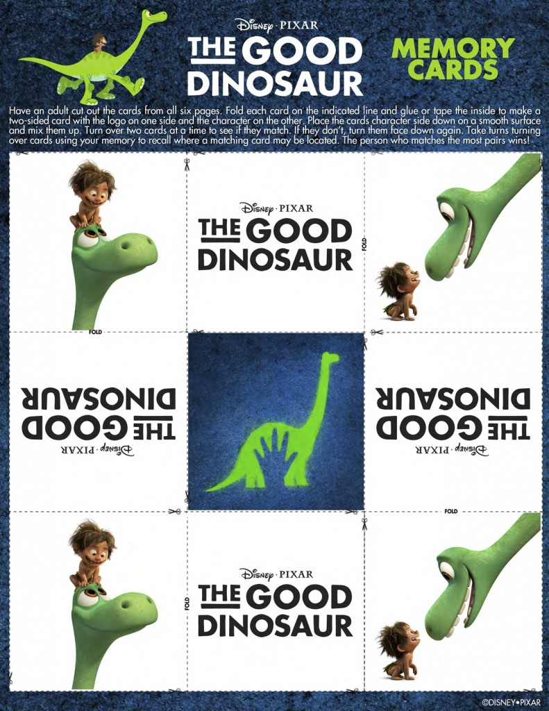 good dino memory cards copy 2 791x1024 THE GOOD DINOSAUR Coloring Sheets and Fun!!