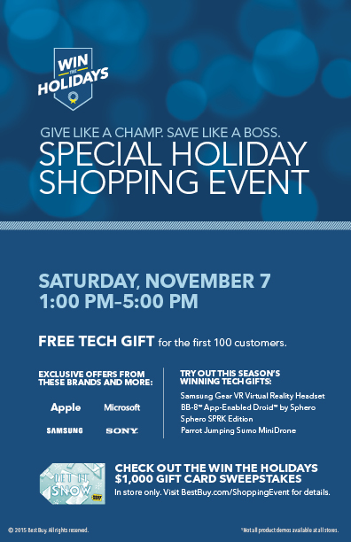 PRE EVENT FLYER 5x8 FINAL 2 Best Buy Special Holiday Shopping Event on Saturday 11/7! #WinTheHolidaysSweepstakes