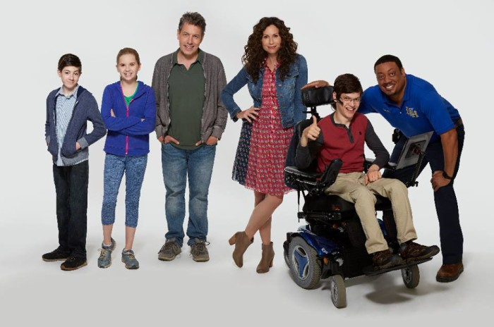 "Mason Cook as Ray, stars Kyla Kenedy as Dylan, ABC's ""Speechless"" stars Mason Cook as Ray, Kyla Kenedy as Dylan, John Ross Bowie as Jimmy, Minnie Driver as Maya, Micah Fowler as JJ and Cedric Yarbrough as Kenneth. (ABC/Kevin Foley)"
