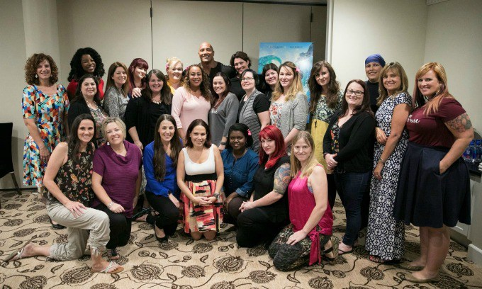 "GROUP WITH DWAYNE JOHNSON My Interview with Dwayne Johnson (voice of ""Maui"")! #MoanaEvent"