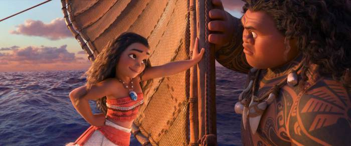 "Moana Image Maui and Moana on a boat My Interview with Dwayne Johnson (voice of ""Maui"")! #MoanaEvent"