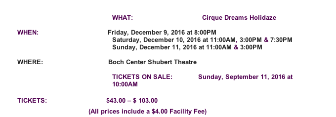 Screen Shot 2016 12 07 at 5.10.51 PM CIRQUE DREAMS HOLIDAZE 12/9 12/11 at Boch Center Shubert Theatre, Boston!