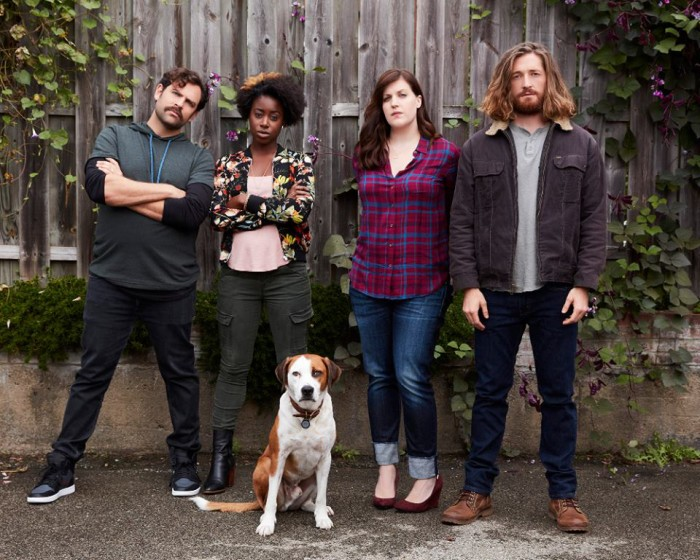 "DOWNWARD DOG - ABC's ""Downward Dog"" stars Barry Rothbart as Kevin, Kirby Howell-Baptiste as Jenn, Ned as Martin, Allison Tolman as Nan and Lucas Neff as Jason. (ABC/Craig Sjodin)"