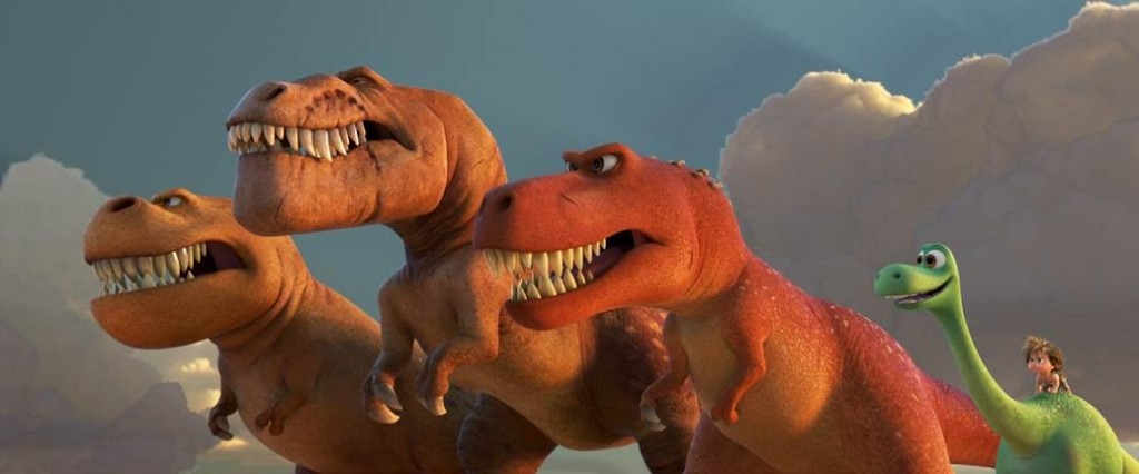 "A TRIO OF T-REXES — An Apatosaurus named Arlo must face his fears—and three impressive T-Rexes—in Disney•Pixar's ""The Good Dinosaur."" Featuring the voices of AJ Buckley, Anna Paquin and Sam Elliott as the T-Rexes, ""The Good Dinosaur"" opens in theaters nationwide Nov. 25, 2015."