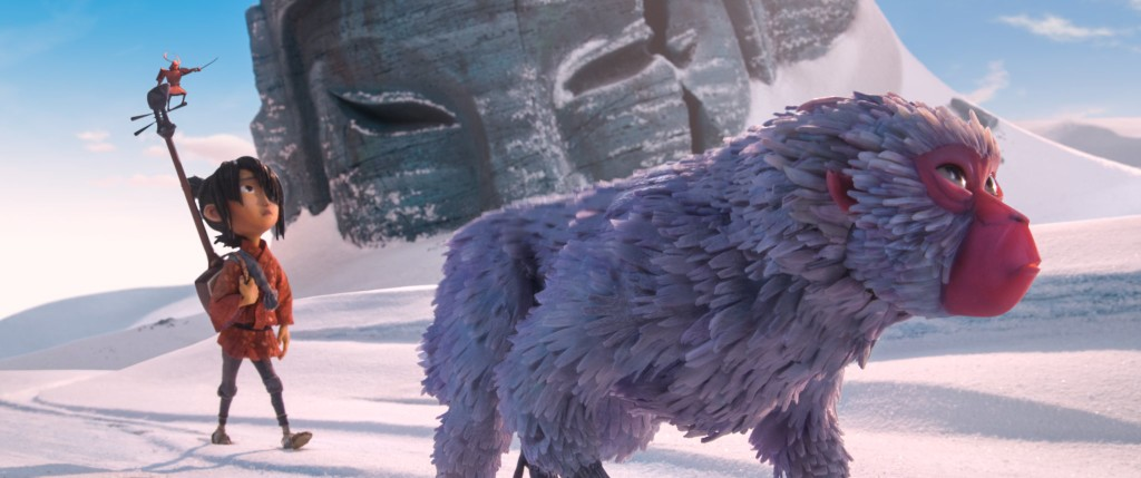 (l-r.) The journey begins as Little Hanzo, Kubo (voiced by Art Parkinson), and Monkey (voiced by Academy Award winner Charlize Theron) trek through The Tundra in animation studio LAIKA's epic action-adventure KUBO AND THE TWO STRINGS, a Focus Features release. Credit: Laika Studios/Focus Features