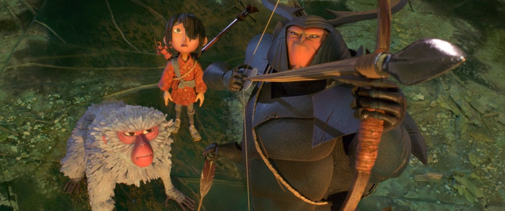 (l-r.) Kubo (voiced by Art Parkinson) gets a lift from his new friend and ally Beetle (Academy Award winner Matthew McConaughey) in animation studio LAIKA's epic action-adventure KUBO AND THE TWO STRINGS, a Focus Features release. Credit: Laika Studios/Focus Features