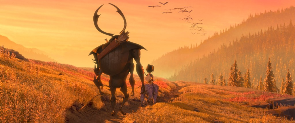 (l-r.) Beetle, Kubo, and Monkey emerge from the Forest and take in the beauty of the landscape in animation studio LAIKA's epic action-adventure KUBO AND THE TWO STRINGS, a Focus Features release. Credit: Laika Studios/Focus Features