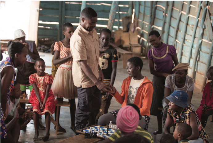 David Oyelowo and Madina Nalwanga in the film.